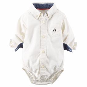 Body Camisa Carters ® 0 A 24 Mses Blanco Original Usadirect