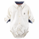 Body Camisa Carters ® 0 A 24 Mses Blanco Original Usadirect