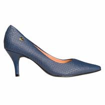 Zapato Mujer Clasico Vizzano Sintetico Azul Reptil