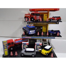 Lote Miniatura Posto Policia Bombeiro Combustivel Scania