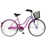Bicicleta Lahsen Beach Cruiser Aro 26 Dama Color Violeta