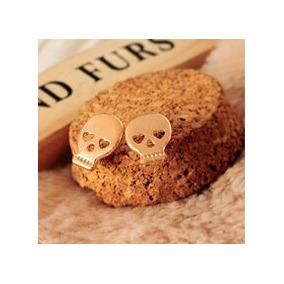 Brincos Cranio Caveira Dourado Punk Rockfeminino C38