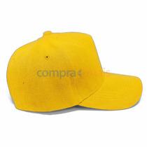 Boné Amarelo Liso Aba Curva Aba Reta, Boné Unisex 5 Gomos