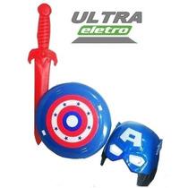 Kit - Espada + Escudo + Máscara Do Capitão America