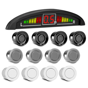 Sensor Estacionamento 4 Pontos Display Led Re Sonoro Branco
