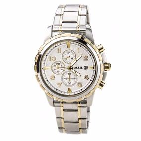 Reloj Fossil Dean Fs4795 Plateado/dorad Cronograph Caballero