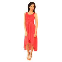 Vestido Irregular Cola De Gasa De Mujer, Brishka V-0038