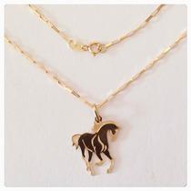 Corrente Cartier De 40cm Ou 45cm Pingente Cavalo Ouro 18k
