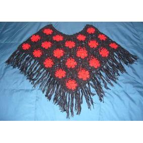 Poncho Para Dama Tejido A Crochet Lana Alpaca A S/. 60