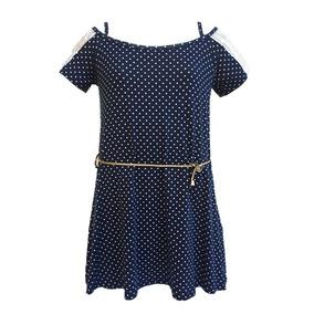 Vestido Infantil Ciganinha Poa Detalhe Renda Ombro E Cinto