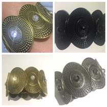 Pulseira Pedras De Aço Metal Prata Preta Dourada Feminina