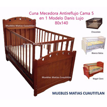 Cuna Cama Mecedora Funcional Madera Pino/mdf Colchon