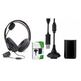 1 Fone Ouvido Xbox 360 1 Cabo Carregador Controle Xbox 360