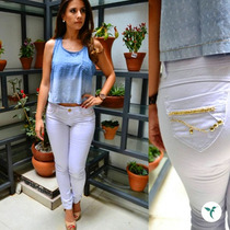Calça Branca Com Strass Dourado Super Promoção 40%desc