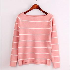 Sweater Chompa Rosa Coral Blanca Talla S Importada En Stock