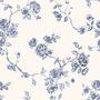 Papel Empapelado Blanco Azul Flores Muresco Iara 711