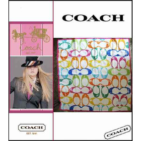 Autentica Y Espectacular Pañoleta De Marca Coach Silk&cotton
