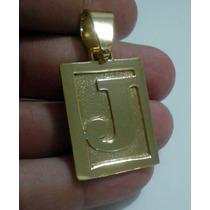 Pingente Placa Letra Retangular - Banhado A Ouro