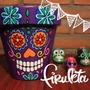 Maceta Pintada A Mano Calavera Mexicana! Día De Los Muertos!