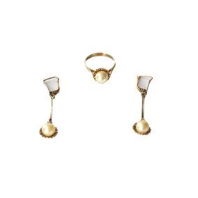 Anillo Y Aretes Largos Oro Perla 14k Peso 3.6 Gr Talla 9