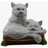 Cerâmica Italiana - Gatos Na Almofada - Década De 1950