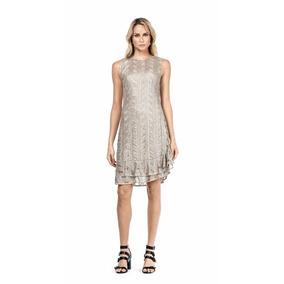 Vestido Curto Renda Metalizada Maria Valentina Ref: 104410