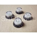 4 Perillas Campana Dial Negro Y Blanco Ideal Les Paul Nuevos