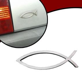 Emblema Cromado Adesivo Evangélico Cristão Gospel Peixe