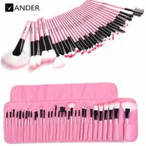 Kit Profissional 32 Pinceis Maquiagem Makeup Rosa + Bolsa