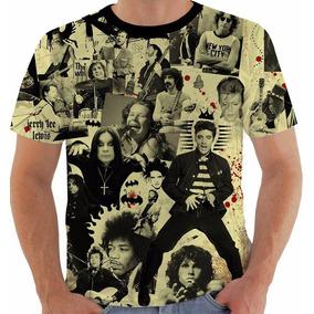 Camiseta Rock And Roll Elvis Ozzy Hendrix Joplin Morrison