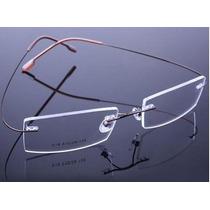 Armação Óculos D Grau Titânio Três Peças Discreta Sem Aro Bf