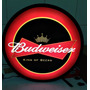 Luminoso Decorativo Cerveja Budweiser Com Led E Fonte 37cm