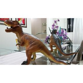 Três Dinossauros Extra Grande + Coleção 6 Dinos Pequenos