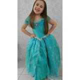 Fantasia Princesa Ariel Pequena Sereia Luxo Com Luva Brinde