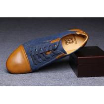 Zapato Elegante Oxford Azul Para Traje Casual Súper Suaves