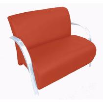 Poltrona Dupla Cadeira Dois Lugares Suede Recepção Vermelho