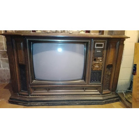 Televisor Con Mueble Antiguo Hitachi