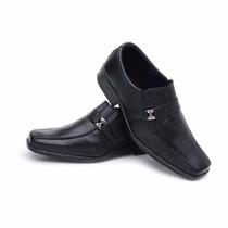 Sapato Masculino Couro Brinde Meia Social Promoçâo 02 Pares