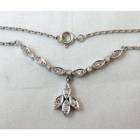 Pocao2005- Colar De Ouro Branco 18k750 Diamantes C94