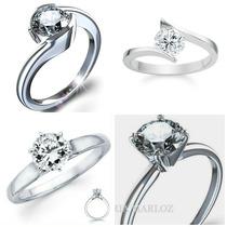 Anillo Compromiso Oro Branco 10kt Diamante Ruso Envio Gratis