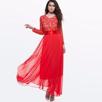 Vestido Longo De Festa Luxo Vermelho/azul Elegantes