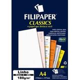 Papel Linho A4 180g/m² Branco Filipaper 50 Folhas