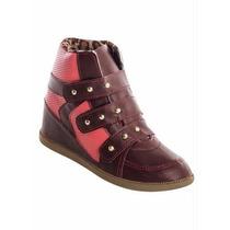 Tênis Sneaker Bordo Com Rosa - Preço De Fábrica!