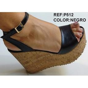 Linda Plataforma Negra Corcho Dama Calzado Dama Envío Gratis