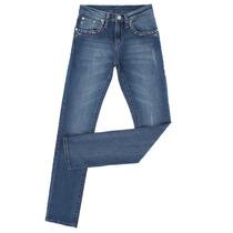 Calça Jeans Feminina Azul Escuro Com Bordados E Elastano - W