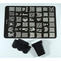 Placa Decalque Para Unha 42 Desenhos Bolinha Lacinhos Xadrez