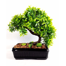 Arvore Bonsai Artificial Decorativa Vaso Cachepot Preto 29cm