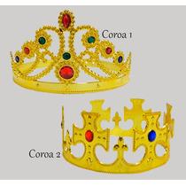 2 Coroa Rei Rainha Festa Fantasia Infantil Adulto Cosplay