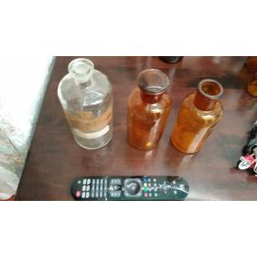 Lote De 3 Frascos De Farmacia Antiguos Grandes