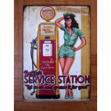 Poster Vintage Metalico 31x18 Gasolinera Pin Up Bomba